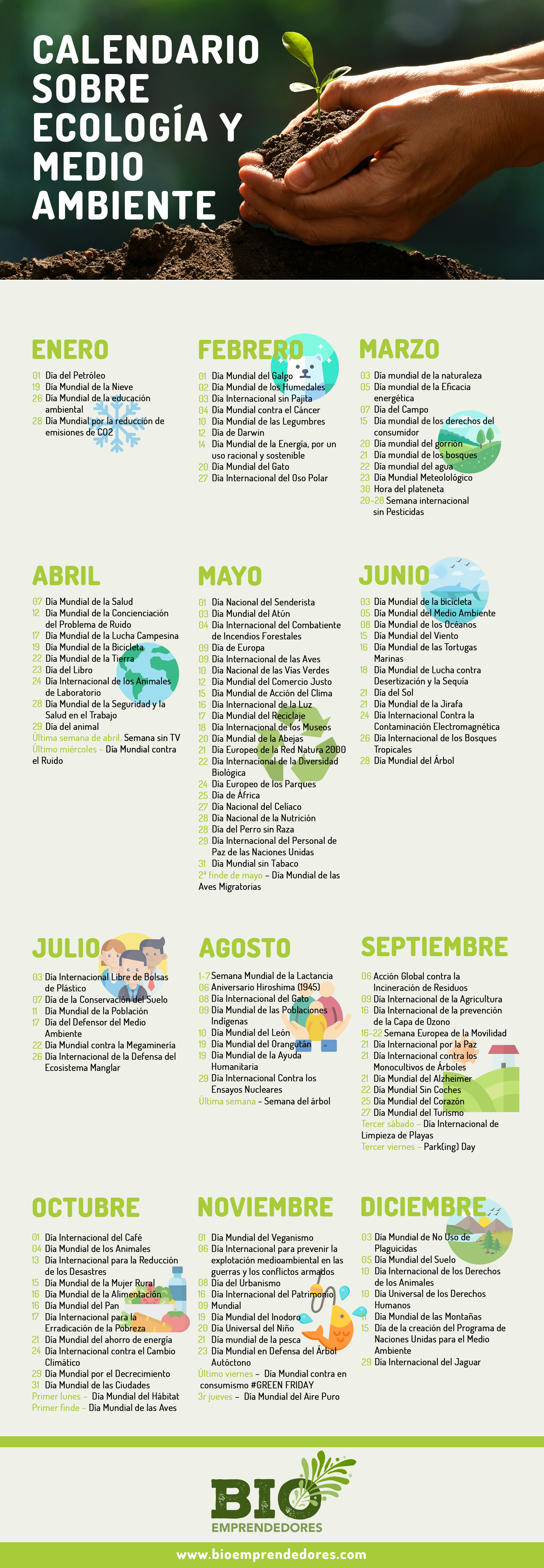 Calendario medio ambiente y ecología